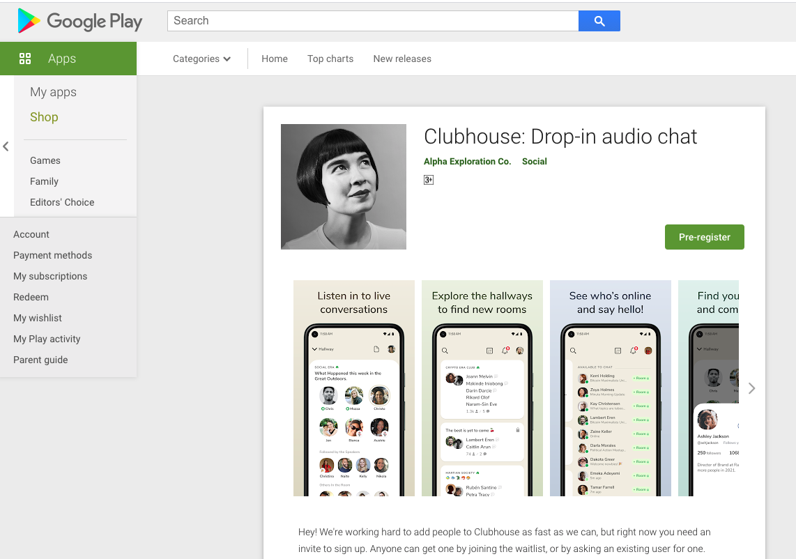 Clubhouse on Play Store